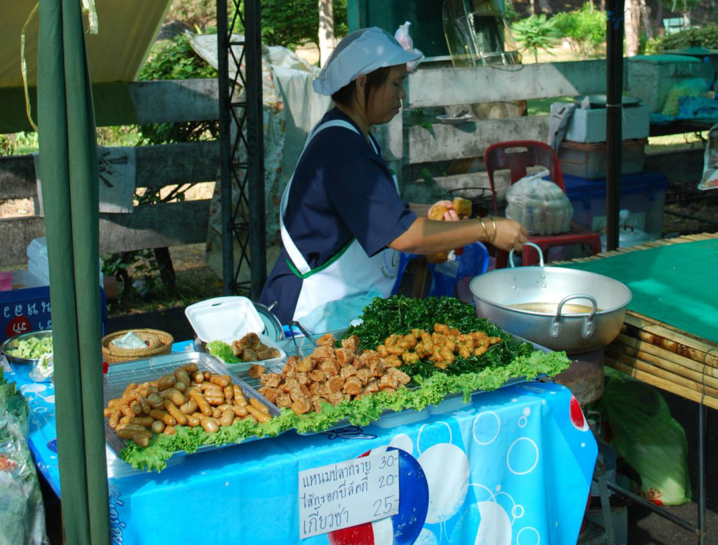 Tod man pla fish cakes at Taling Chan floating market in Bangkok, Thailand - photo by Alpha