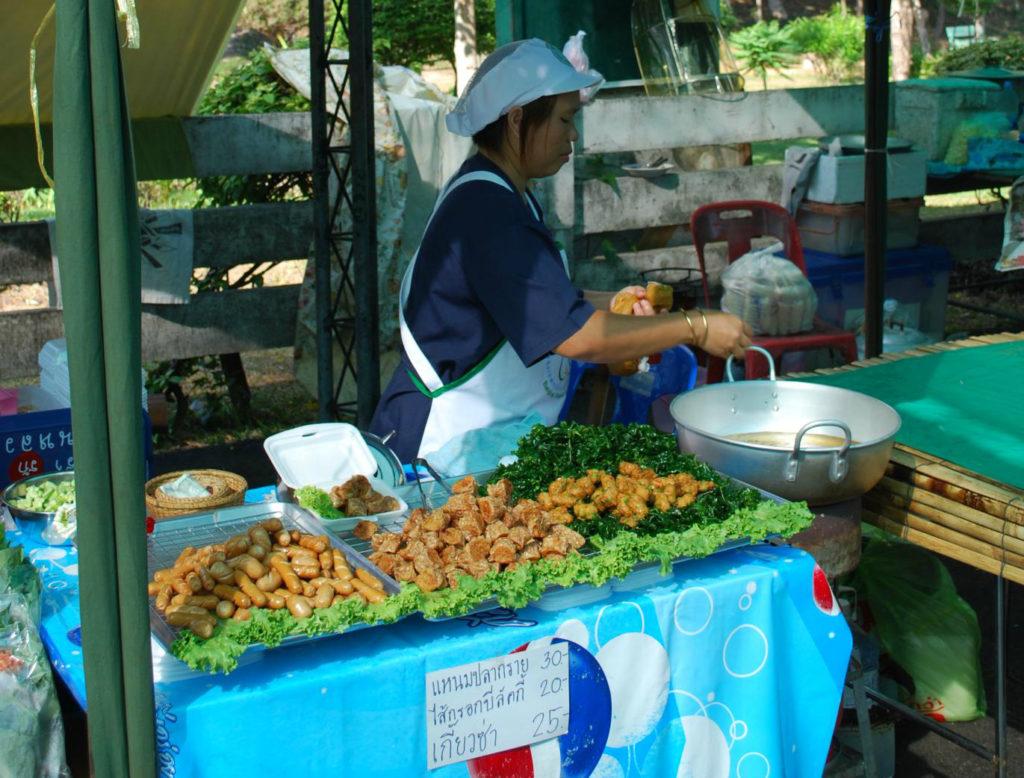 Tod man pla fish cakes at Taling Chan floating market in Bangkok, Thailand - photo by Alpha