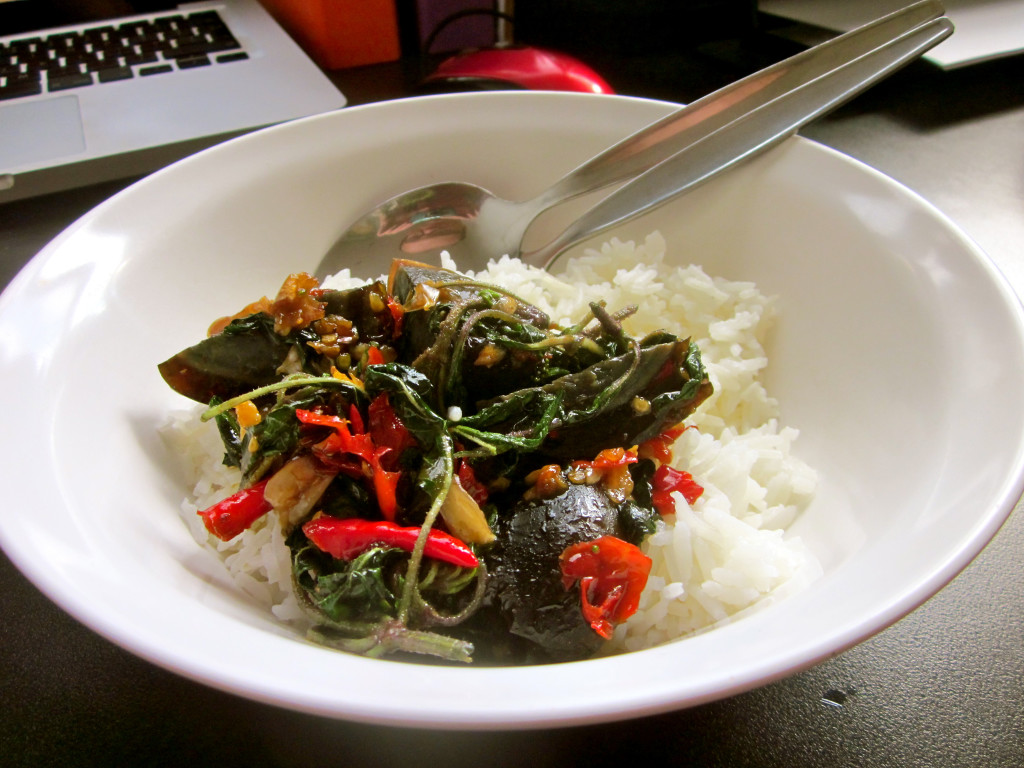 Pad krapao kai yeow maa stir-fried century egg with holy basil - photo by Chris Wotton