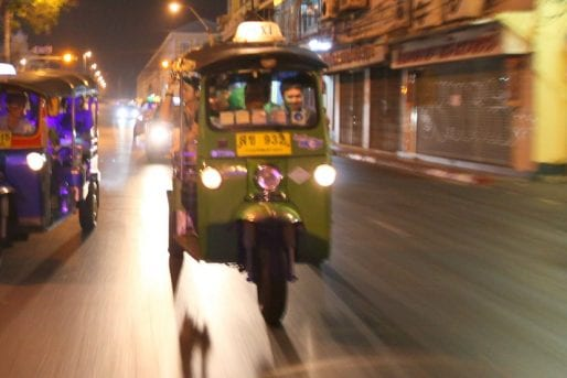 Tuk Tuks driving at night