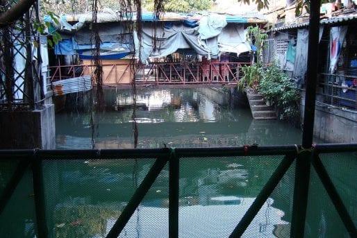 A canal-side alleyway off Pahurat Road in Pahurat, Little India,