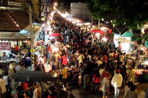 Ratchadamnoen Road Sunday night walking street market in Chiang Mai