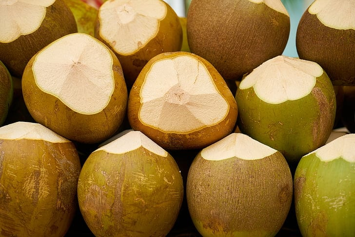 Image of green coconuts
